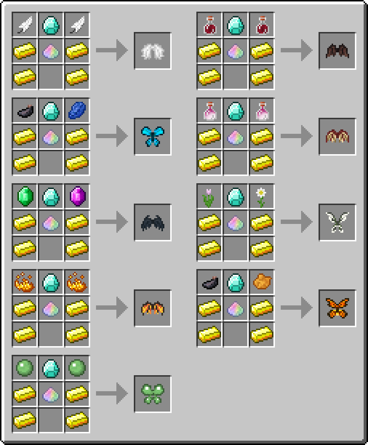 Wings Mod Crafting Recipes 1